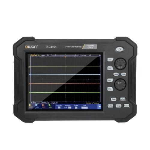 OwonポータブルタブレットデジタルオシロスコープTAO31048インチLCDタッチスクリーンUSBストレージオシロスコープ8ビット4チャンネル100Mhz帯域幅ハンドヘルドタブレットスコープメーター、キャリーバッグスタンドホルダー付き