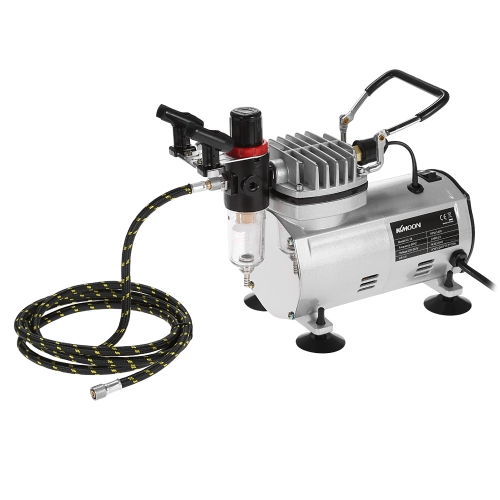 KKmoon 100-250V Professional Gravity Feed Dual Action Airbrush Air Compressor Kit for Art Painting Tattoo Manicure Craft Cake Spra