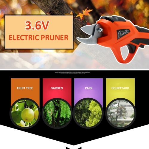 Electric Pruning Shear Rechargeable Home Garden Scissors Cordless Secateur Fruit Tree Branches Cutter 3.6V 1.5AH 1.2S / time 15-20