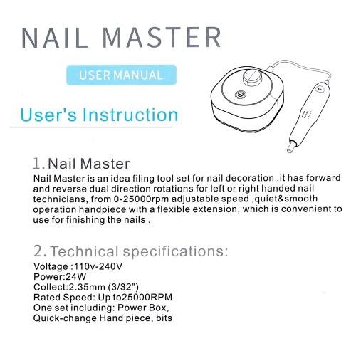 25000rpm High Speed Professional Electric Nail Art Drill Pen Pedicure Nail Polish Tool Feet Care Manicure Machine Pedicure Accessories