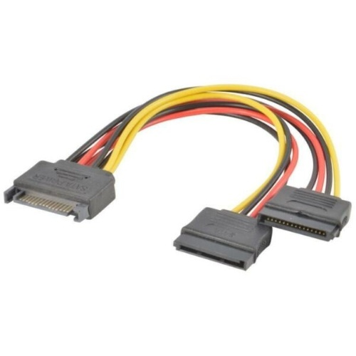 SATA Power 15-pin Y-Splitter Cable Adapter Male to Female for HDD Hard DriveA