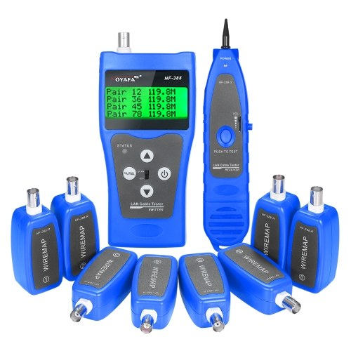 Multi-functional LCD Network Cable Tester Wire Tracker RJ11 RJ45 BNC Wire Length Finder Line Finder LAN Cable Tester with 8 Remote Adapters