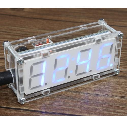 4 dígitos DIY LED microcontrolador electrónico reloj Kit 0,8 pulgadas Digital tubo reloj con termómetro por hora timbre función DIY Kit Module