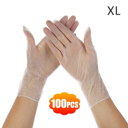 Clear Powder Free Vinyl Disposable Plastic Gloves Latex Free Non-Sterile Food Safe Box of 100 Extra Large