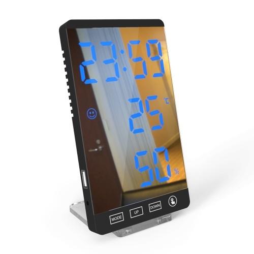 大きなLEDディスプレイ画面温度湿度時間表示ミラーインテリジェント目覚まし時計家庭用オフィスホテル多機能ユーティリティツール