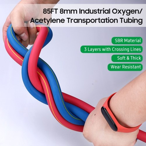 85FT 8mm Industrial Acetylene Transportation Tubing Soft SBR Pipe for Welding Equipment High Pressure Rubber Tubing for Industry