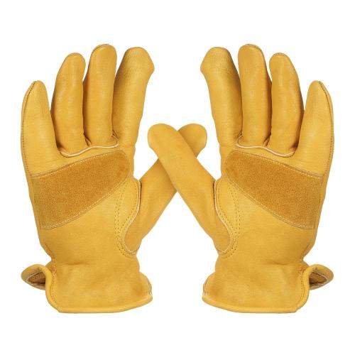 メンズワーク牛革手袋ガーデニング掘るレザー作業手袋植物花剪定保護手袋のドライバーのセキュリティ滑り止め保護ウェアを着用安全な労働者の男性と女性の弾性手首の溶接