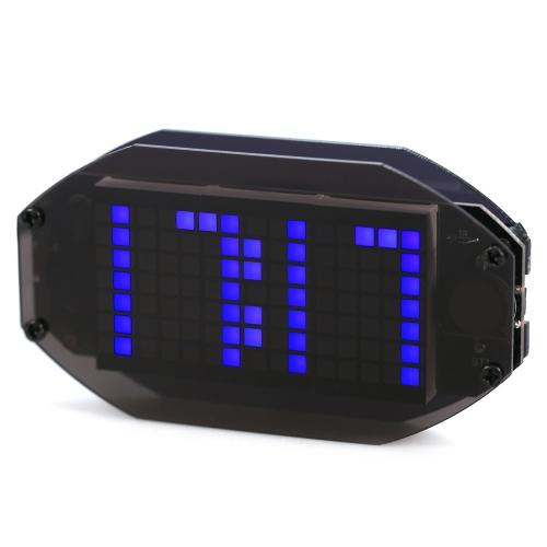 Fai da te nero LED digitale a specchio matrice orologio da tavolo orologio elettronico Kit di apprendimento elettronico con funzione 12H / 24H ℃ / ℉ display temperatura termometro interno regolabile LED luminosità vacanza e compleanno ricordare funzione