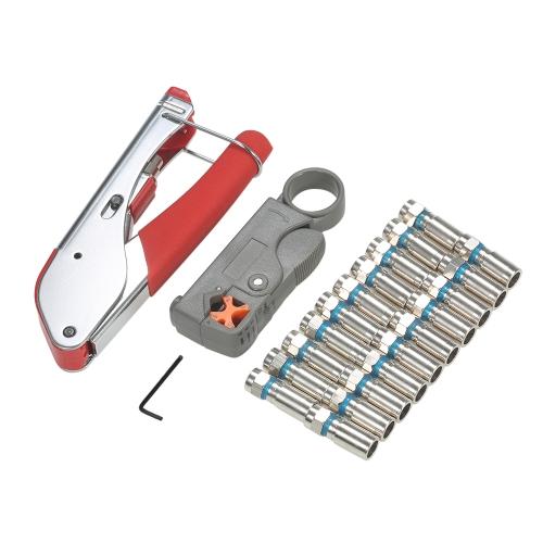 Ferramenta de compressão coaxial Tool Wire Stripper Line Ferramenta de pressão com conector de 20 F Alicates de descascar fio