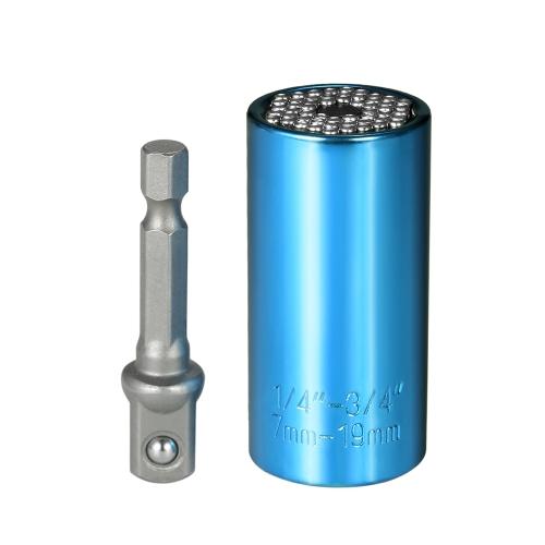 7ミリメートル19ミリメートル多機能ユニバーサルソケットメトリックレンチパワードリルアダプタソケットセットプロフェッショナル修復ツール
