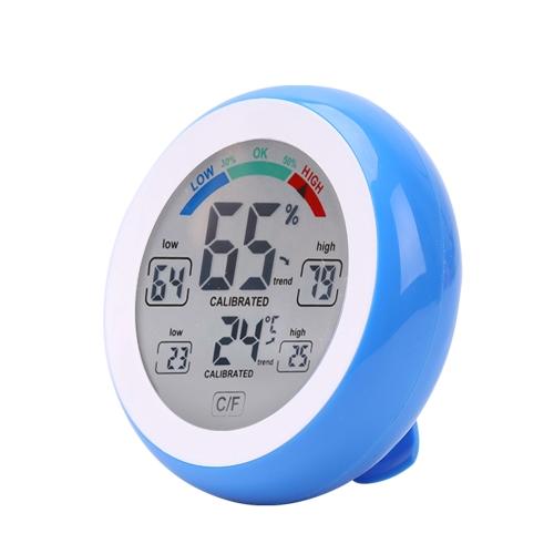 Сенсорный экран для измерения температуры и влажности Цифровой круглый корпус Внутренний термометр и гигрометр