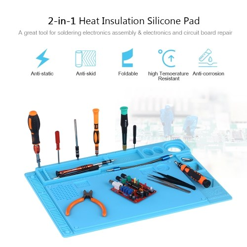2-in-1 Heat Insulation Silicone Pad for BGA Soldering Repair Solder Station Mat High Temperature Resistance Maintenance Platform B