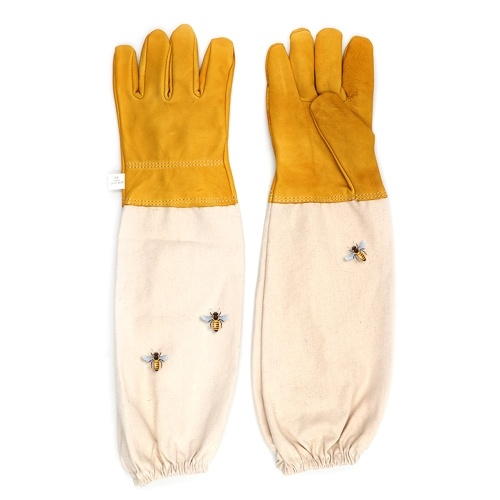 Beekeeping Gloves Beekeeper Prevent Gloves Protective Sleeves Ventilated Professional Anti Bee for Apiculture Beekeeper Beehive Anti-bee Anti-smash Anti-slash Anti-cut Gloves Pigskin Gloves