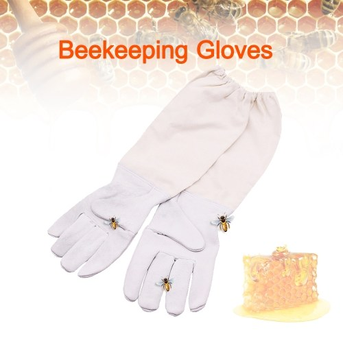 Beekeeping Gloves Anti Bee Gloves Beekeeper Protective Pigskin Gloves Long Sleeves Ventilated Professional Apiculture Beekeeping Clothing Sting Proof Cuffs Beekeeping Gloves Beekeeper Prevent Gloves Protective Sleeves фото