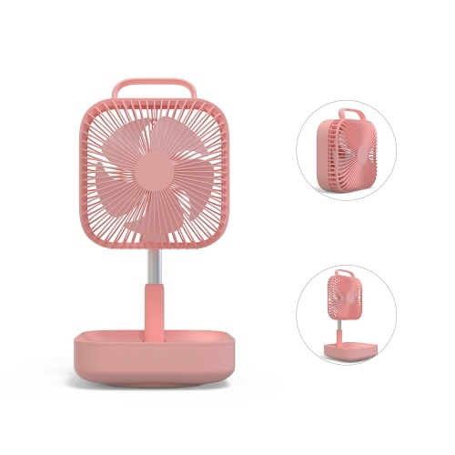 Portable Folding Desk Fan USB Rechargeable Telescopic Rotatable Electric Fan with 4 Speed Mode Low Noise Built-in 10000mAh Battery for Home School Office Travel