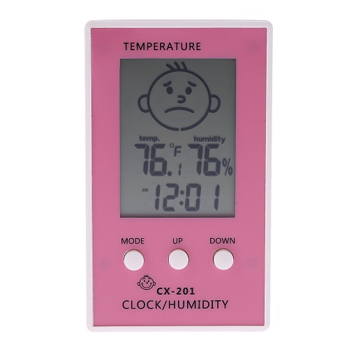 LCD Digital Thermometer Hygrometer Clock Temperature Humidity Measurement °C/°F Comfort Level Display