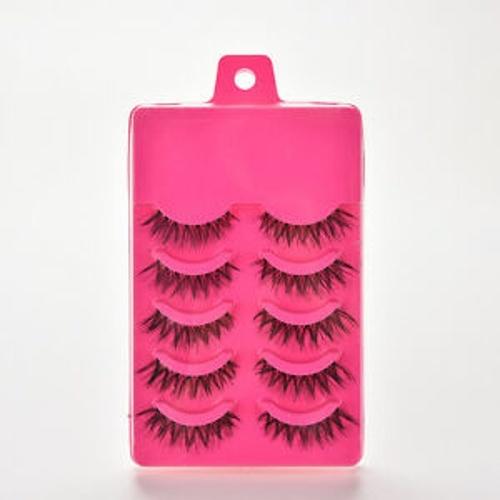 5 paires maquillage mode faux cils yeux cils longue épaisseur croix à la main rose
