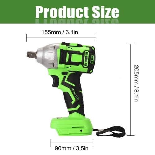 3/8 Inch Electric Rechargeable Brushless Impact Wrench Cordless Electric Screwdriver DIY Power Tool Wrenches with LED Light