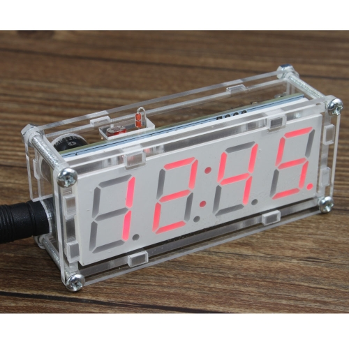 4-Digit DIY LED Electronic Clock Microcontroller 0.8inch Digital Tube Clock with Thermometer Hourly Chime Function DIY Kit Module