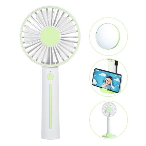 Ручной вентилятор ini USB Настольный вентилятор 3-скоростной регулируемый мини-персональный вентилятор Зарядка от USB Небольшой настольный охлаждающий вентилятор с питанием от батареи с настольным подставкой для телефона с подвесной веревкой и зеркалом для домашнего кемпинга Disney Travel Green