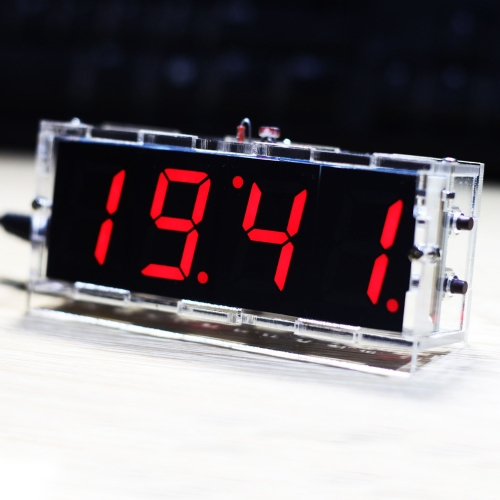 KKmoon Compact 4-digit DIY Digital LED Clock Kit Light Control Temperature Date Time Display with Transparent Case