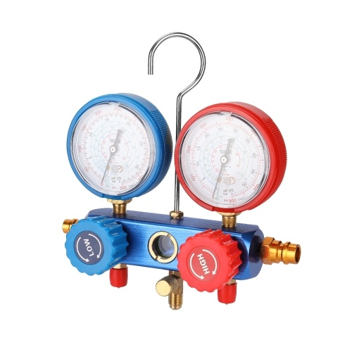 YS-025 Manifold Dual Gauges Set Refrigeration Equipment Pressure Measuring Tool Kit with 3 Recharge Hoses