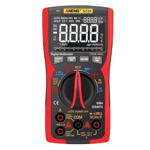 ANENG SZ18 Multimetro digitale 9999 Conteggi T-RMS LCD Tester universale Tensione CA / CC Capacità di corrente Continuità diodo Ciclo di lavoro Frequenza Resistenza temperatura Visualizzazione max / min