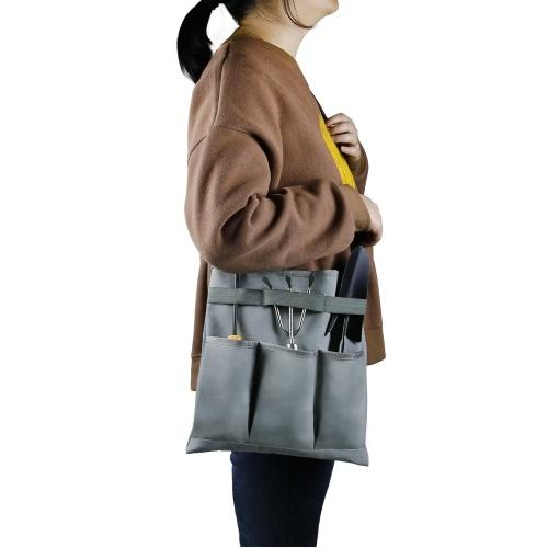 Garden Tool Bag Gardening Storage Shoulder Bag with 3 External Pockets High Capacity Interior Pocket Garden Tool Kit Holder Bag