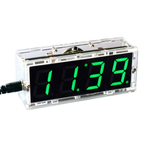 コンパクトな4桁のデジタルLEDトーキングクロックDIYキットライトコントロール温度日付時刻表示透明ケース