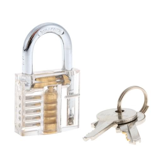 プロフェッショナルミニ透明な可視鍵屋トレーニングトレーナー断面図の真鍮南京錠ロック実践セットキットを選びます