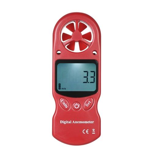 8 in 1ハンドヘルドデジタル風速計風速/温度/湿度/風の寒さ/ヒートポイント/露点/気圧/気圧計 -  LCDバックライト付き - 赤