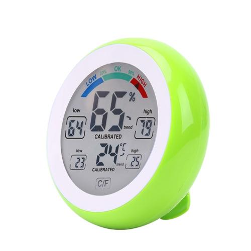 Medidor de humedad y temperatura de la pantalla táctil Termómetro e higrómetro interior de forma redonda digital