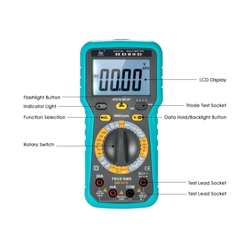 Multi-functional Digital Multimeter DMM LCD with Backlight 6000 Counts Display True RMS AC-DC Voltag