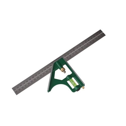 Strumento di misurazione multifunzione in acciaio inossidabile con righello ad angolo quadrato combinato 300MM