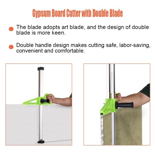 Manual High Accuracy Portable Gypsum Board Cutter Hand Push Drywall Cutting Artifact Tool with Double Blade and 4 Bearings 20-600mm Cutting Range