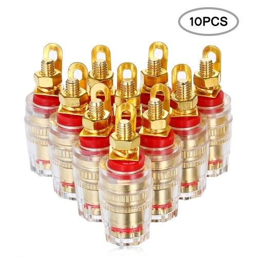 Conector banana de 4 mm chapado en oro Pin conector de terminal Terminal de conexión para amplificador altavoz 10 piezas (rojo)