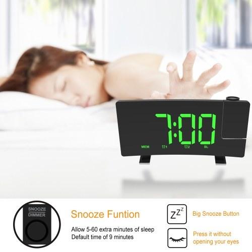 Wake-up Clock Digital LED Light Time Projection Loud Alarm Clocks with FM Radio Snooze Sleep Function