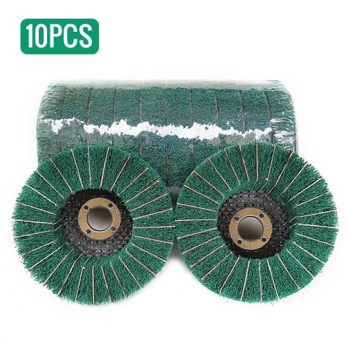 10pcs Nylon Disque de roue de disque de roue à polir abrasif, abrasif, diam. Roue de polissage pour flap en fibre de nylon 100mm