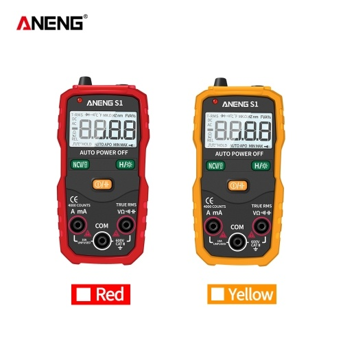 Digital Multimeter Portable Multimeter 4000 Counts Measure AC/DC Voltage Current Resistance Capacitance True RMS Frequency Continuity NCV Mode LED Display High Accuracy Handheld Mini Universal Meter with Flashlight Red