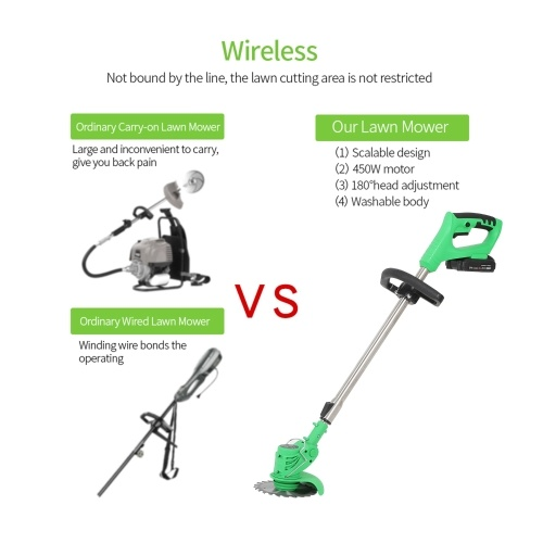 Electric Grass Trimmer Edger Lawn Mower 21V 3000mAh Lithium-Ion Cordless Weed Brush Cutter Kit Pruning Cutter Garden Tools US Plug with Replace Blade