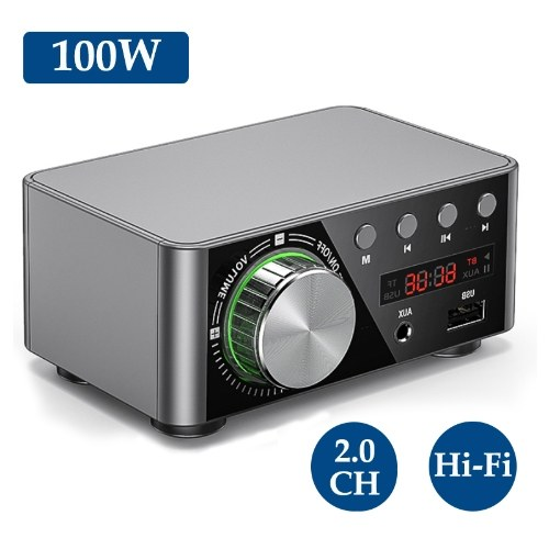HIFI BT5.0 Digital Amplifier Mini Stereo Audio Amp 100W Dual Channel Sound Power Audio Receiver Stereo AMP USB AUX for Home Theater USB TF Card Player Sliver