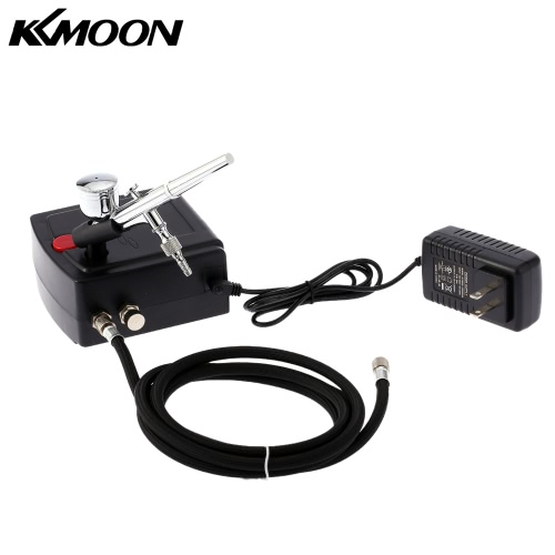 KKmoon 100-250V Professional Gravity Feed Dual Action Airbrush Air Compressor Kit for Art Painting Tattoo Manicure   Craft Cake Sp