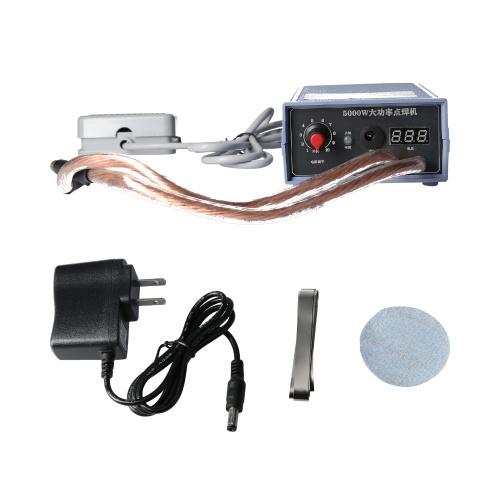 Punktschweißgerät 5000W Hochleistungs-Handpunktschweißgerät Tragbar 0-800A Stromverstellbare Schweißer für 18650 Batterie US-Stecker