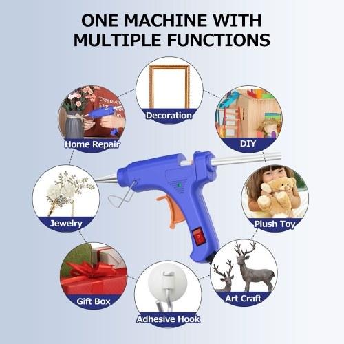 20W Portable Hot Glue Gun with 12 Glue Sticks Kids Handheld Mini Glue Gun Household Melt Glue Gun for DIY Arts Crafts Repair