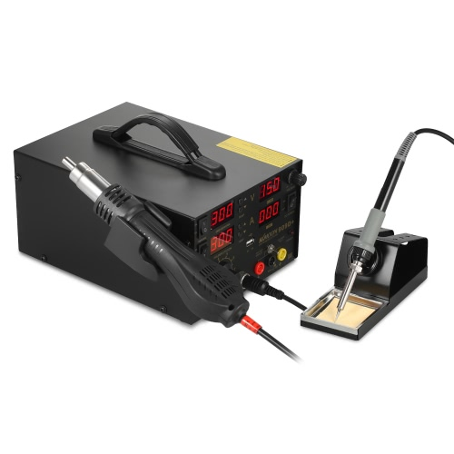 KKmoon 800W 4 in 1 Digital SMD Rework Soldering Station DC Power Supply Welder Hot Air Gun Soldering