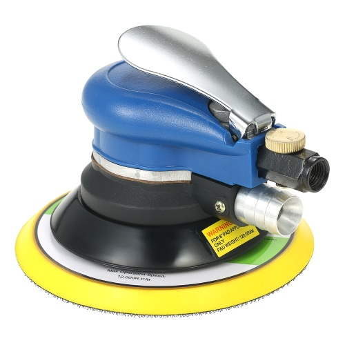 "Multifuncional 6 ""10000RPM Pneumatic Palm Random Orbital Sander Polisher Pulverizador de órbita a ar Double Action Polishing Grinding Sanding Waxing Tools with Vacuuming Bag"