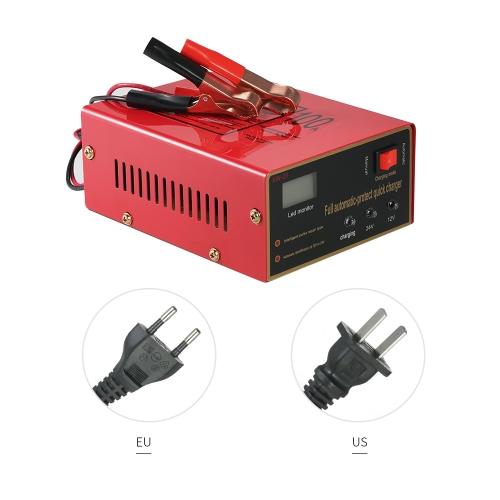 12V/24V Intelligent Automatic LED Charger Pulse Repair Type Maintainer for Lead Acid Battery and Lithium Battery 140W AC110V