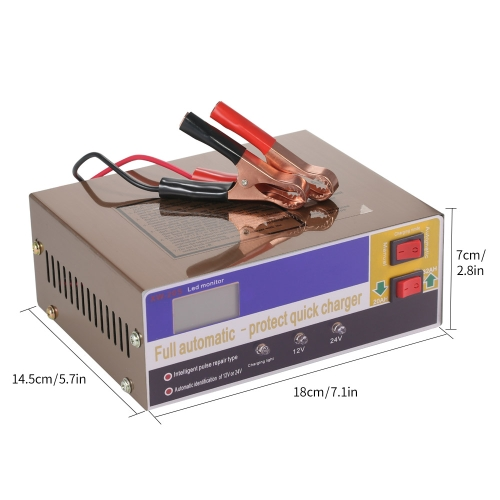 KKmoon 12V/24V Intelligent Automatic LED Charger Pulse Repair Type Maintainer for Lead Acid Battery and Lithium Battery 140W AC110V