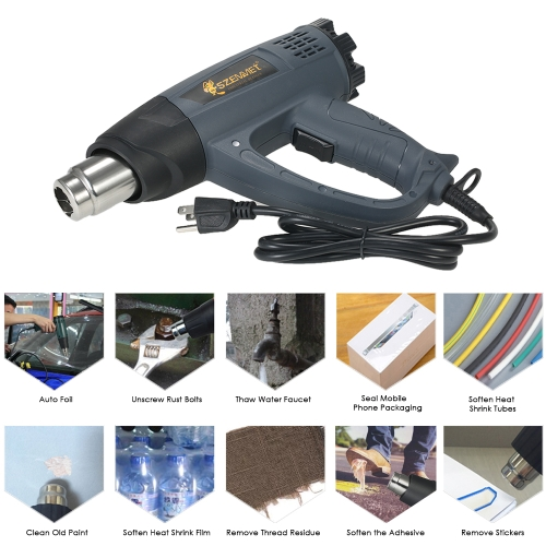 2000W Industrial Fast Heating Hot Air Gun Adjustable Temperature Speed Hot Heat Shrink Blower Tool with 4 Nozzles AC110V US Plug