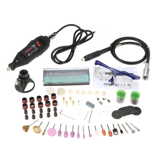 161pcs 5可変速度180W手持ち式電気研削工具セットミニポータブルロータリードリル研削盤多目的切断研磨研磨機ビットアクセサリーDIYキットEUプラグ220V